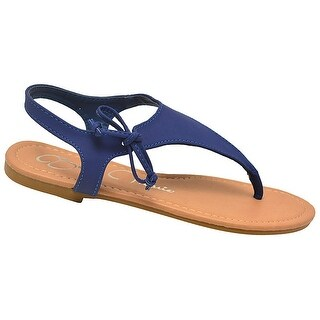 Bella Marie Adult Royal Blue Lace Up T-Strap Thong Flip Flop Sandals