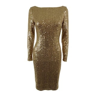 Lauren Ralph Lauren Women's Sequined Sheath Dress - white shine