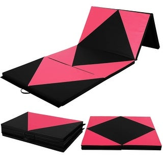Costway 4'x10'x2'' Gymnastics Mat Folding Panel Thick Gym Fitness Exercise Pink/Black