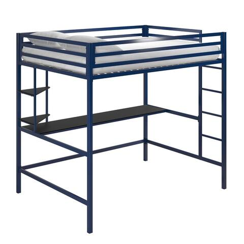Novogratz Maxwell Metal Loft Bed with Desk & Shelves