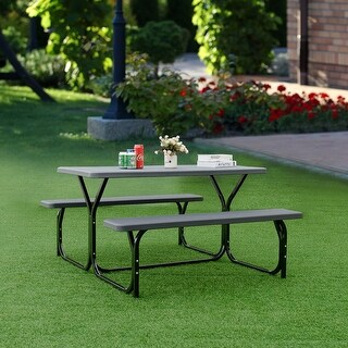 Costway Picnic Table Bench Set Outdoor Backyard Patio Garden Party Dining All Weather