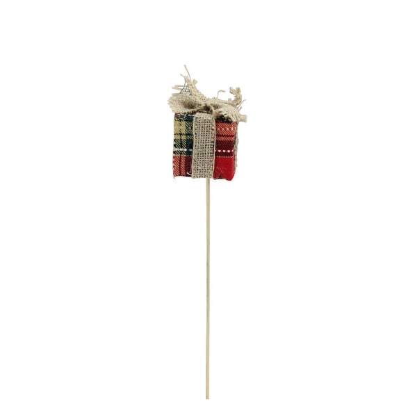 "13"" Plaid with Burlap Bow Christmas Present Shaped Decorative Pick"