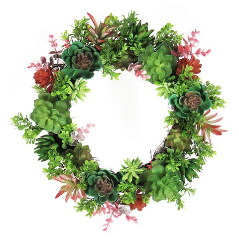 Mixed Succulent Boxwood Greenery Wreath 18in