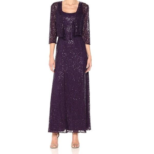 Alex Evenings Purple Womens Size 6 Sequin Lace Jacket Gown Dress