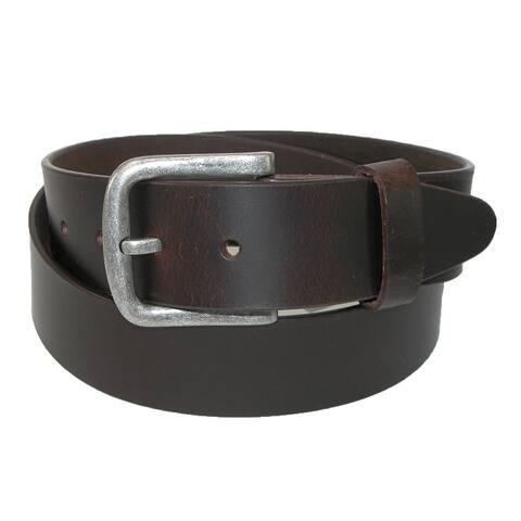 CTM® Men's Leather Removable Buckle Bridle Belt