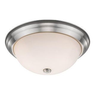 Zlite Athena 2 Light Flush Mount in Brushed Nickel with Frosted Shade