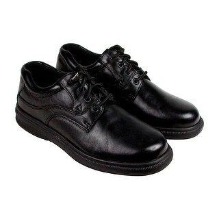 Hush Puppies Glen Mens Black Leather Casual Dress Lace Up Oxfords Shoes