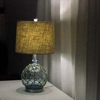 "KANSTAR 25"" Jute Wrapped Blue Glass Table Lamp with Fabric Shade"