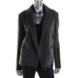 Theory Womens Wool Blend Leather Trim Open-Front Blazer - 4