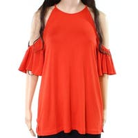 Harlowe & Graham NEW Red Womens Size Large L Cold-Shoulder Blouse