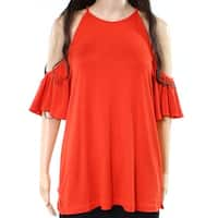 Harlowe & Graham Red Womens Size Small S Cold Shoulder Blouse