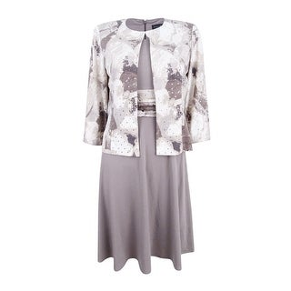 Jessica Howard Women's Petite Empire-Waist Dress & Printed Jacket - taupe