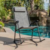 BELLEZE Bungee Suspension Zero Gravity Chair Folding Rocking Chair One Head Pillow Outdoor House Dark Grey