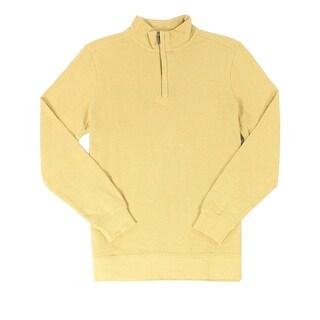 Tasso Elba NEW Yellow Honey Heather Mens Size Large L 1/2 Zip Sweater