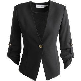 Calvin Klein Womens No Collar Long Sleeves One-Button Blazer - 14P