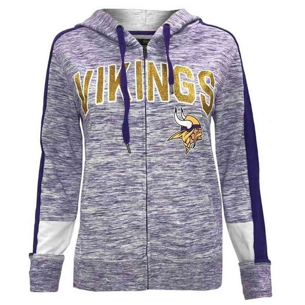 official photos b625f 97a76 New Era Womens NFL Minnesota Vikings Full Zip Hoodie Sweatshirt Glitter  5572L