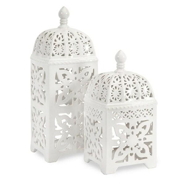 Set of 2 Crisp White Intricate Cutwork Ceramic Pillar Candle Lanterns - N/A