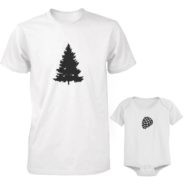 Pine Tree and Cone Dad and Baby Matching Shirt and Bodysuit