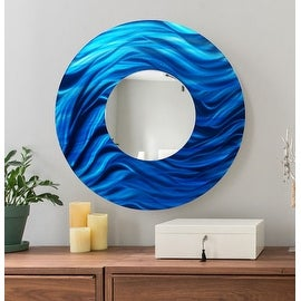 Statements2000 Blue Metal Decorative Wall-Mounted Mirror by Jon Allen - Mirror 117