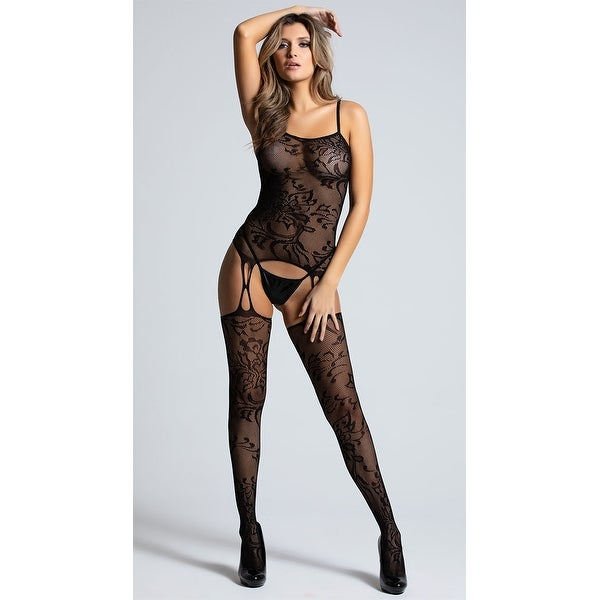 258ef49ab5b Shop Flower Net Bodystocking - Black - One Size Fits most - Free Shipping  On Orders Over  45 - Overstock - 25626323