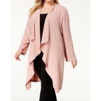 Nine West Pink Womens Size 2X Plus Cascade Front Duster Jacket