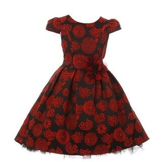Kids Dream Little Girls Red Floral Print Hi-Low Elegant Christmas Dress