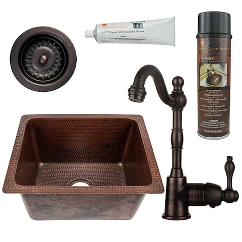 Premier Copper Products BSP4_BREC1713DB-D Bar Sink, Faucet and Strainer Drain Package