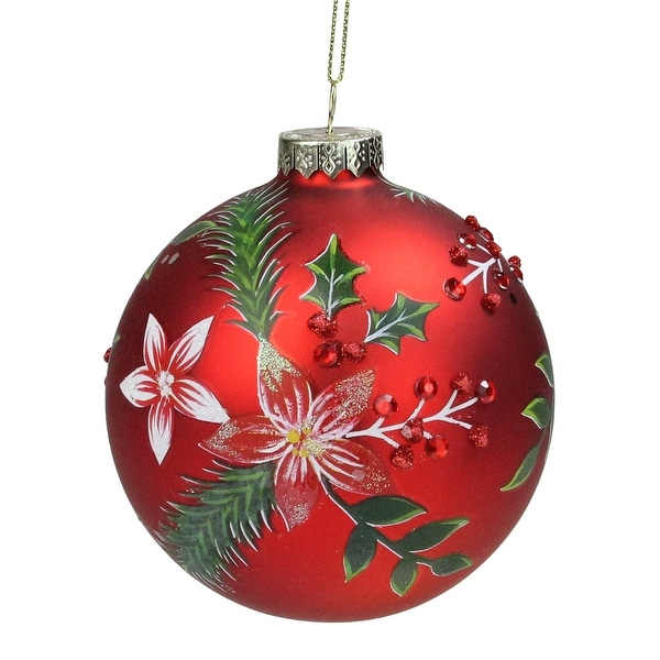 "Red Poinsettia and Jewel Holly Glass Christmas Ball Ornament 4"" (101mm). Opens flyout."
