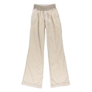 Rewash Womens Juniors Linen Smocked Wide Leg Pants
