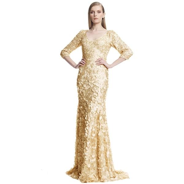 Theia 3/4 Sleeve V-Neck Petal Embellished Evening Gown Dress Sand