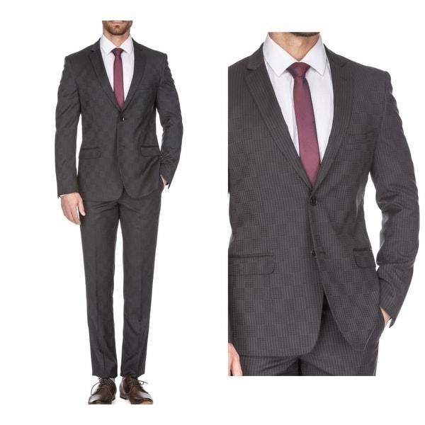 7fd377a2b8 Shop Porto Filo Men's Slim Fit Checkered 2 Piece Suit (Plum, Brown ...