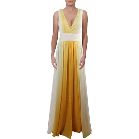 Halston Heritage Women's Chiffon Ombre Sleeveless V-Neck Gown - Yellow/Ivory