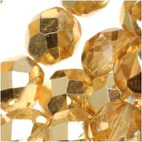 Czech Fire Polished Glass Beads 8mm Round Crystal Gold (25)