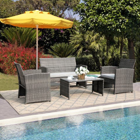 4 Piece Outdoor Cushioned Wicker Set with Loveseat Chairs and Table