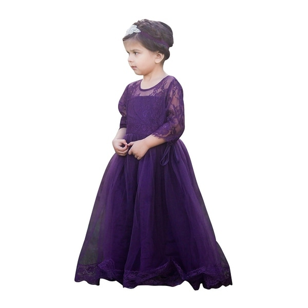 21b0082692bf Shop Little Girls Eggplant Purple Tulle Lace Gabriella Flower Girl Dress - Free  Shipping On Orders Over $45 - Overstock - 23078749