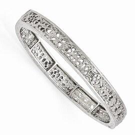 Silvertone Downton Abbey Filigree Stretch Bracelet