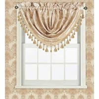 Fiona Jacquard Medallion Waterfall Valance With Tassels, 48x37 Inches