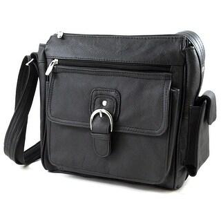 Roma Leather Concealment Purse w/Buckle (Black) - Black