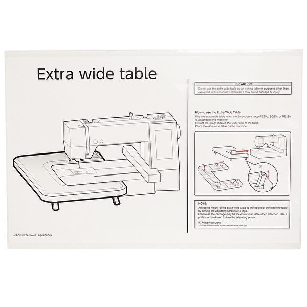 Janome Extra Wide Table Fits MC500E, MC400E and Elna 830