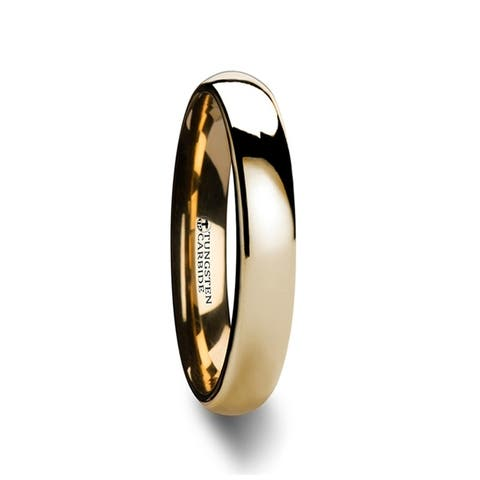 Thorsten ORO Tungsten Rings for Men Comfort Fit Traditional Domed Gold Tungsten Carbide Wedding Ring Band - 4mm