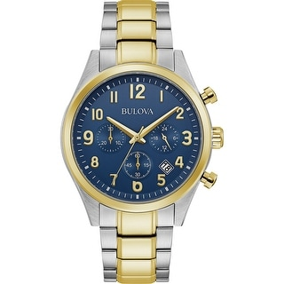 Link to Bulova Mens 98B346 Two-tone Blue Dial Chrono Bracelet watch Similar Items in Men's Watches