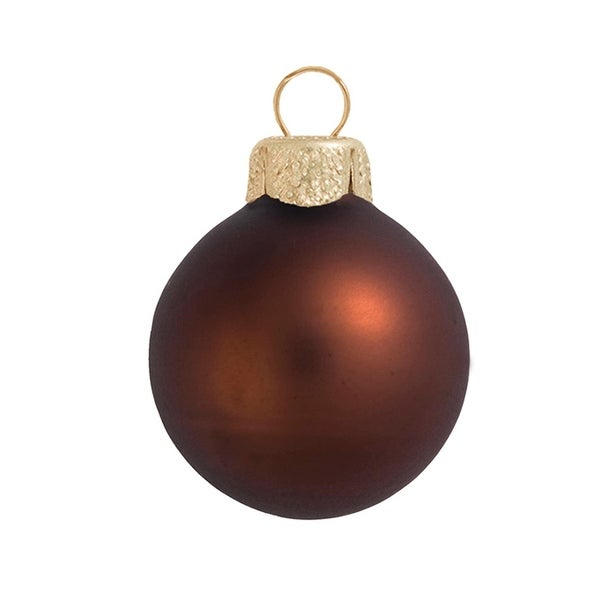 "28ct Matte Cocoa Brown Glass Ball Christmas Ornaments 2"" (50mm)"