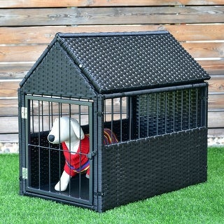 Costway Durable Pet Rattan Dog Crate Cage House Roof Outdoor Indoor with Storage Black