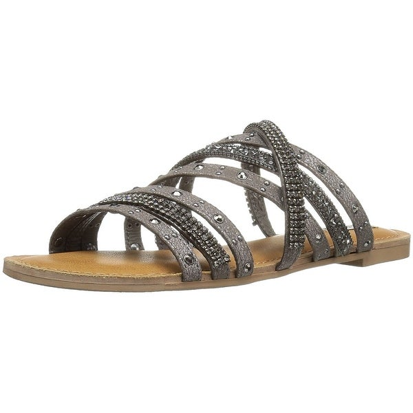 Not Rated Womens Caviar Open Toe Casual Strappy Sandals, Pewter, Size 7.5