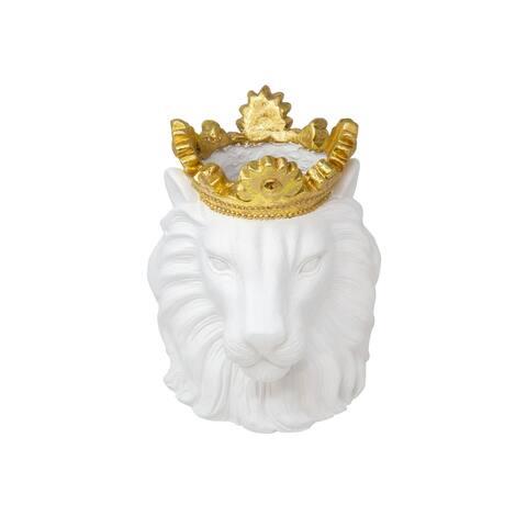 """Resin 9"""" Lion W/ Crown, White"""