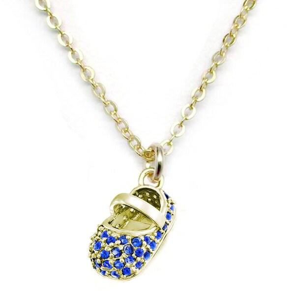 """Julieta Jewelry Blue CZ Baby Shoe Gold Charm 16"""" Necklace"""