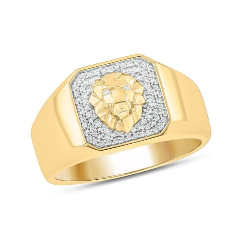 Cali Trove 925S Sterling silver Yellow Plated with 1/6ct TDW. Mens Fashion Ring.