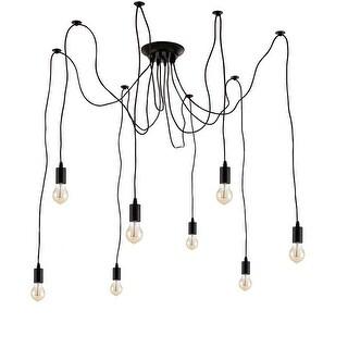 Edison Pendant Light Chandelier 8 Pendants Bulbs Included Matte Black