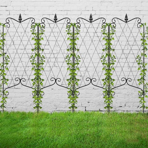 "4 Pack 46"" x 16"" Rustproof Iron Garden Trellis for Potted Plants"