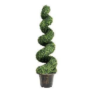 Costway 4FT Artificial Boxwood Spiral Tree Faux Tree W/Realistic